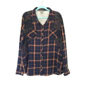 Natural Reflections Plaid Paisley Button Up Top 1X